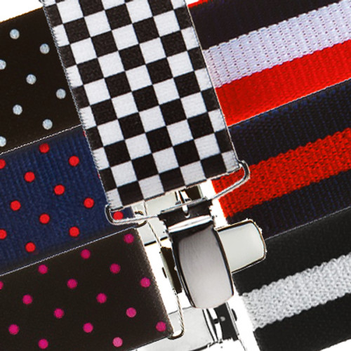 1.5 Inch Wide Clip Suspenders: Stripes, Dots, Checks
