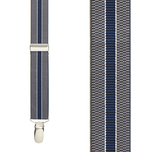 GREY/NAVY Striped Suspenders - 1 Inch Wide