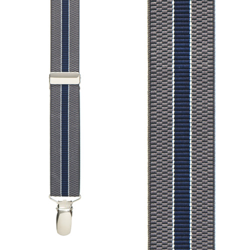 GREY/NAVY Striped Suspenders - 1 Inch Wide