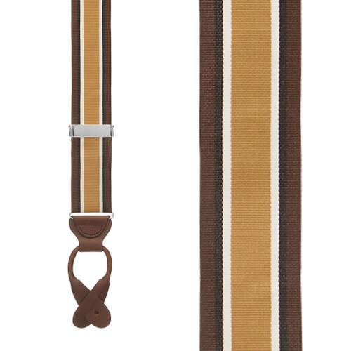 Brown Stripe Grosgrain BUTTON Suspenders