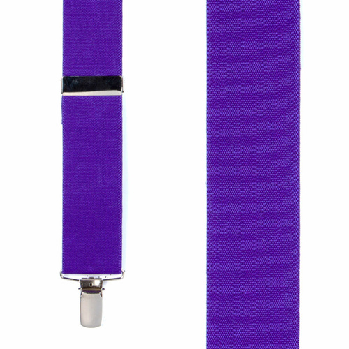 1.5 Inch Wide Clip Suspenders - PURPLE