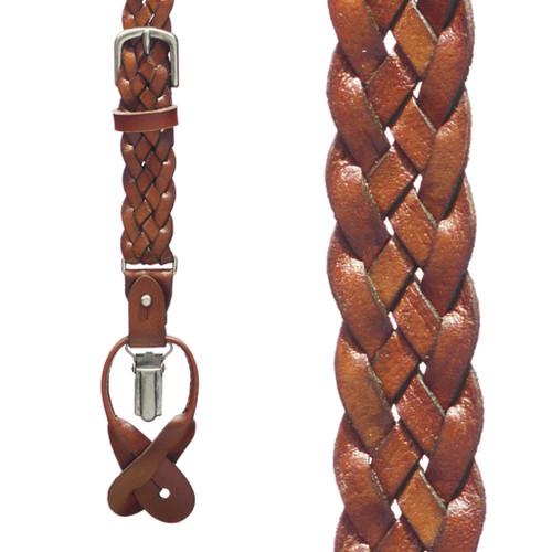 Basketweave Leather Convertible Suspenders - LIGHT BROWN