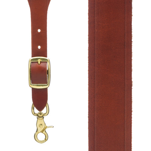Plain w/Crease Handcrafted Western Leather Suspenders - BROWN