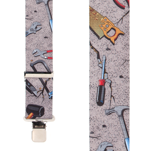 Hand Tools on Grey Suspenders - Construction Clip