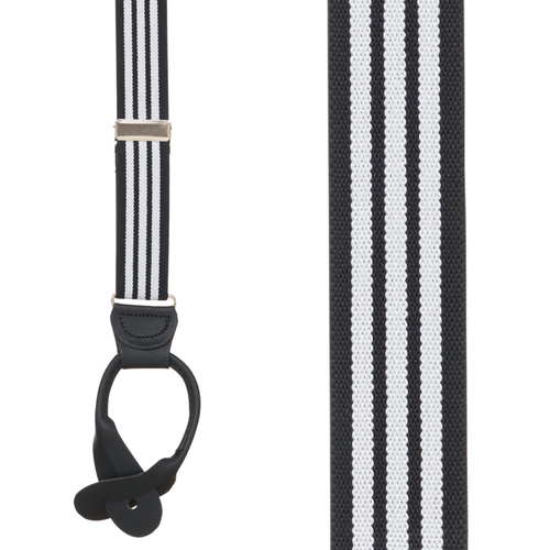 Black/White Striped Y-Back Button Suspenders - 1 Inch Wide