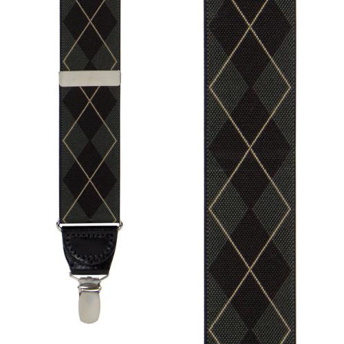 Olive Green Argyle Suspenders - Clip