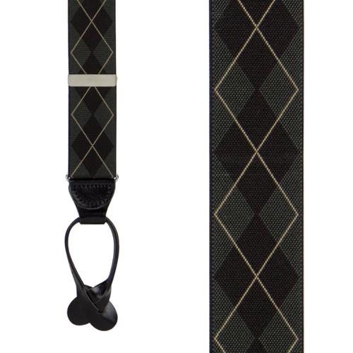 Olive Green Argyle Suspenders - Button