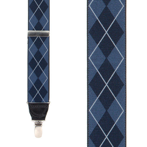 Blue Argyle Suspenders - 1.38 Inch Wide Clip