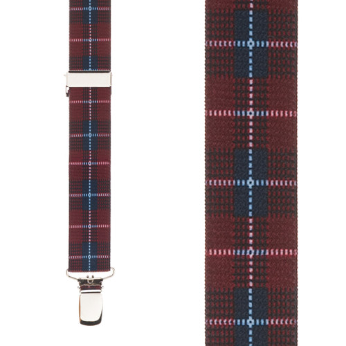 Burgundy Plaid Suspenders - 1 Inch Wide Clip
