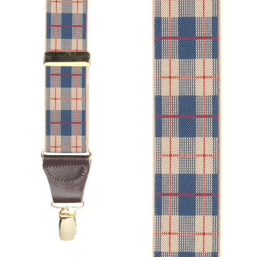 Beige Plaid Suspenders - 1.5 Inch Wide Clip