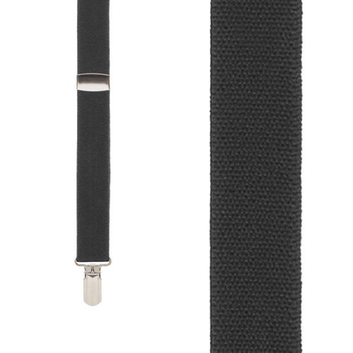 BLACK 1-Inch Small Pin Clip Suspenders