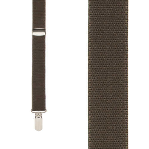 BROWN 1-Inch Small Pin Clip Suspenders