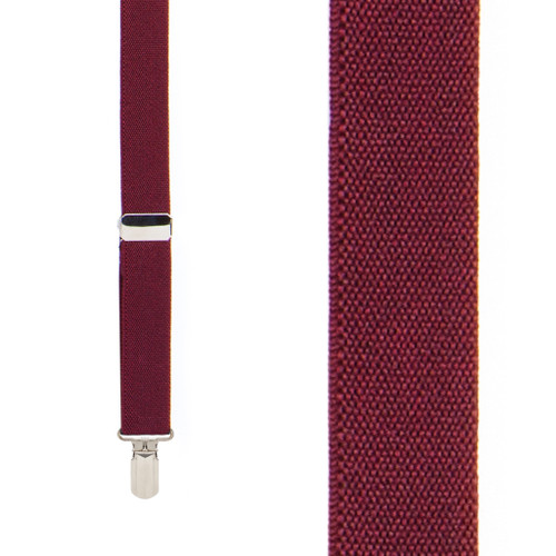BURGUNDY 1-Inch Small Pin Clip Suspenders