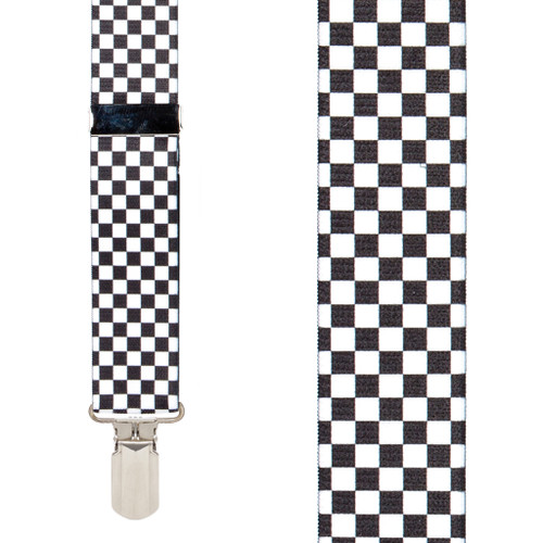 Checkered 1.5-Inch Small Pin Clip Suspenders