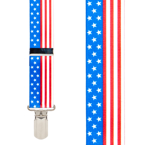 Stars And Stripes 1.5-Inch Small Pin Clip Suspenders