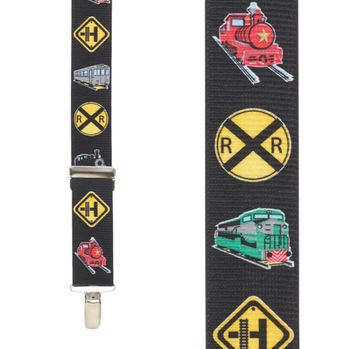 Train Suspenders for Kids - 1.5 Inch Wide Nickel Clip