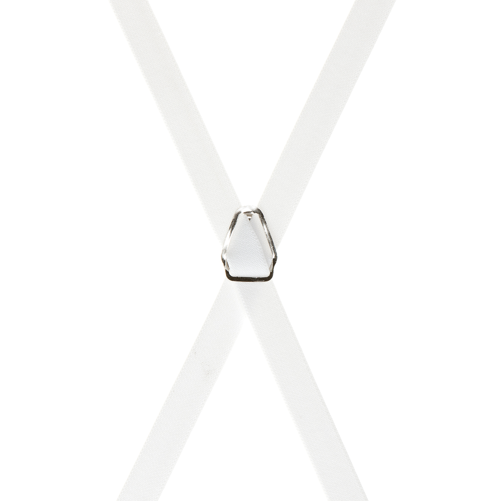 3/4 Inch Wide Thin Suspenders - WHITE (Satin)