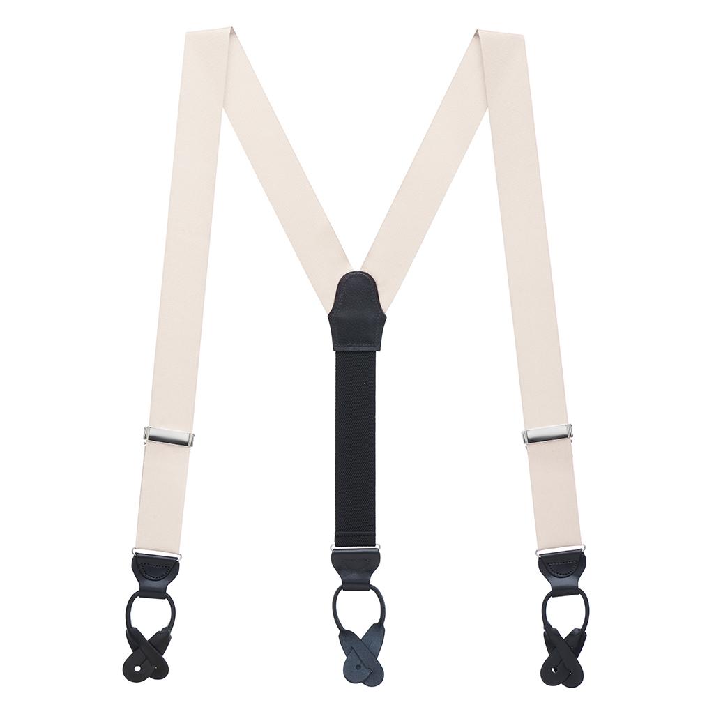 Ivory Grosgrain BUTTON Suspenders