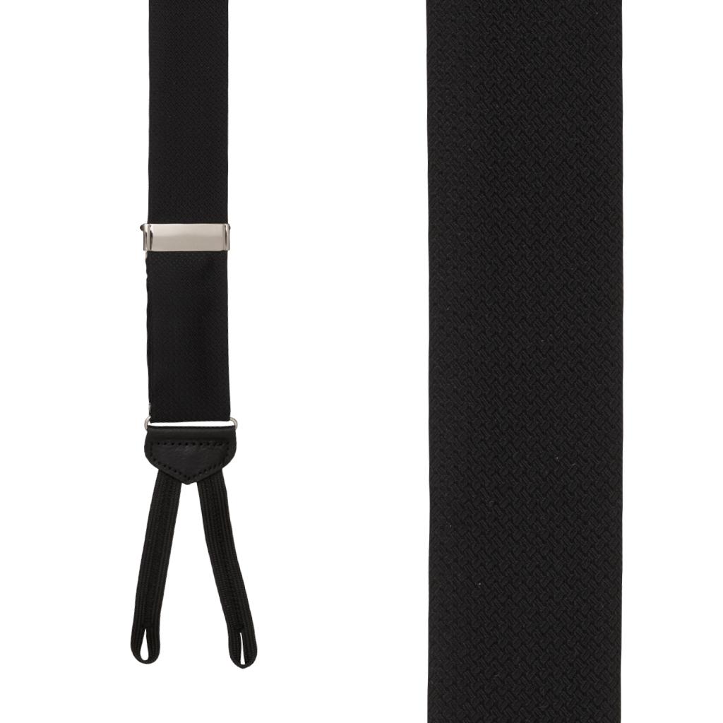 Jacquard Silk BLACK Basket Weave Suspenders - Runner End