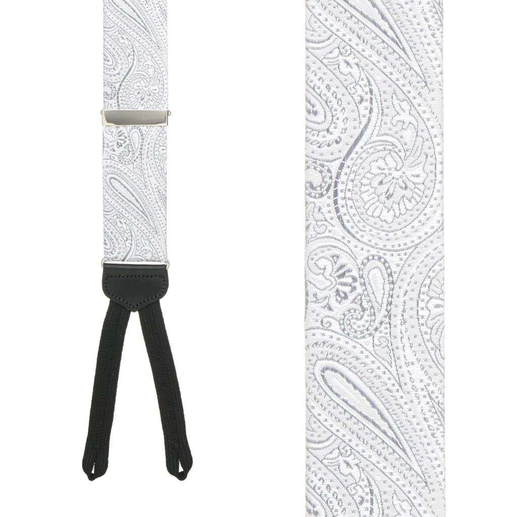 Silver Formal Paisley Silk Suspenders - Runner End