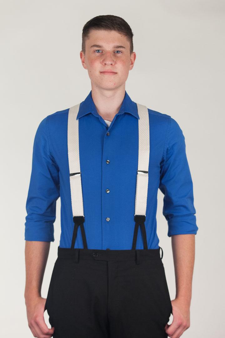 Ivory Formal Diagonal Stripe Silk Suspenders