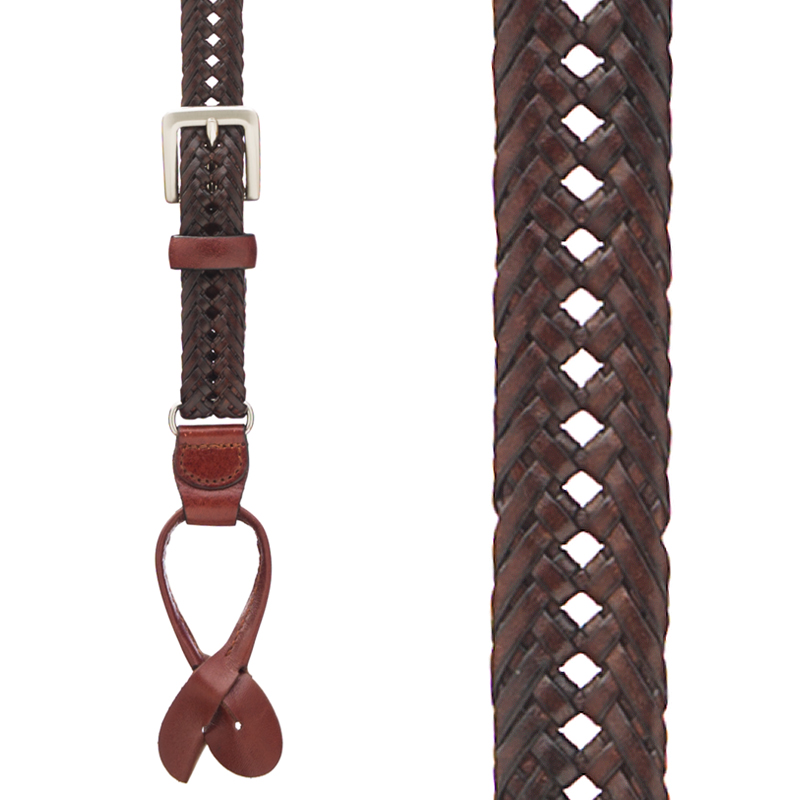 French Braided Leather Suspenders