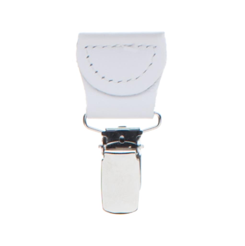 White Grosgrain CLIP Suspenders