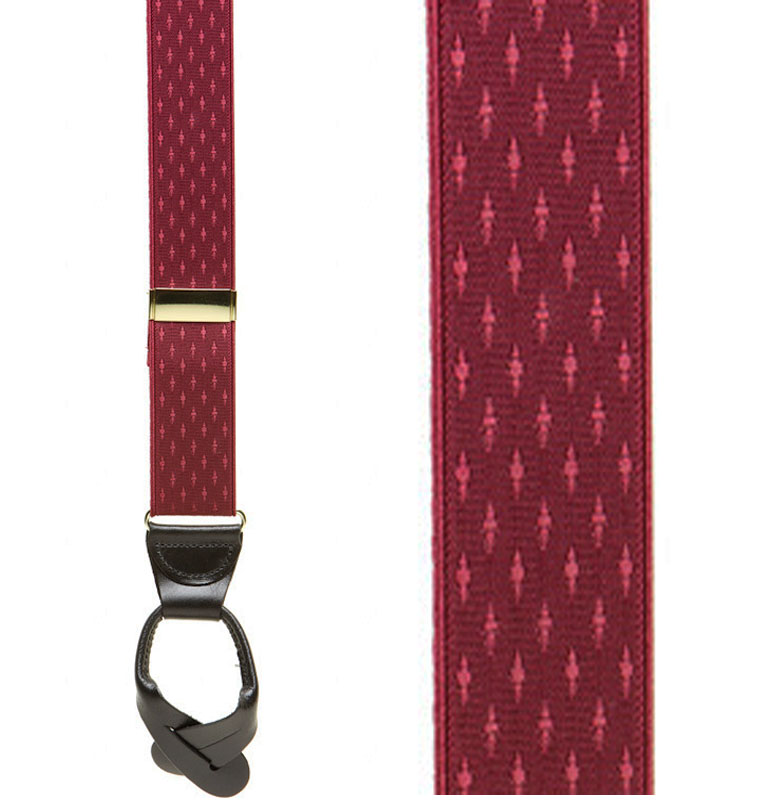 Burgundy Jacquard Suspenders - Petite Diamonds Button