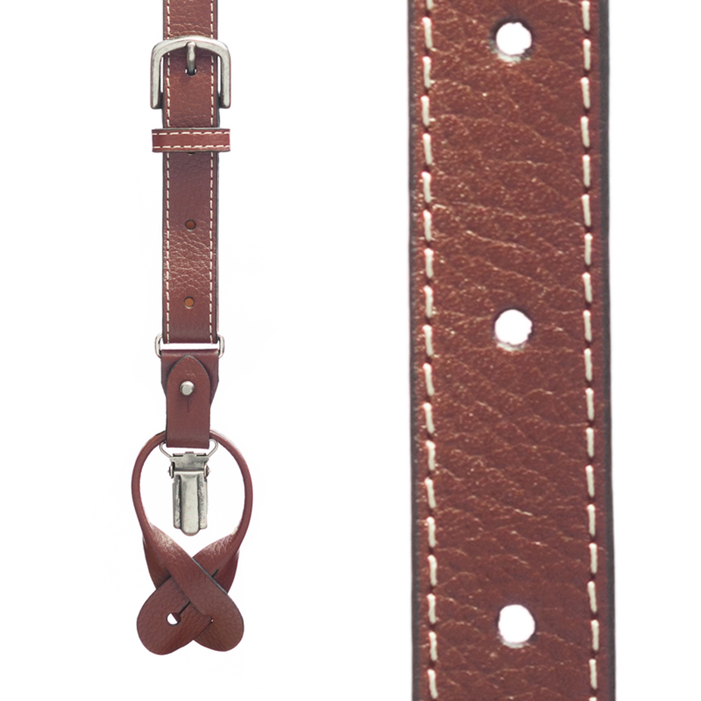 Dressy Leather Convertible Suspenders - LIGHT BROWN