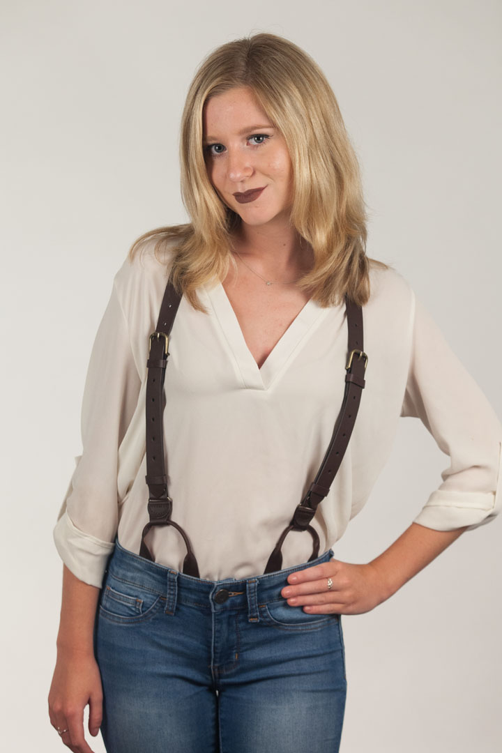 Buckle Strap Leather Button Suspenders - BROWN