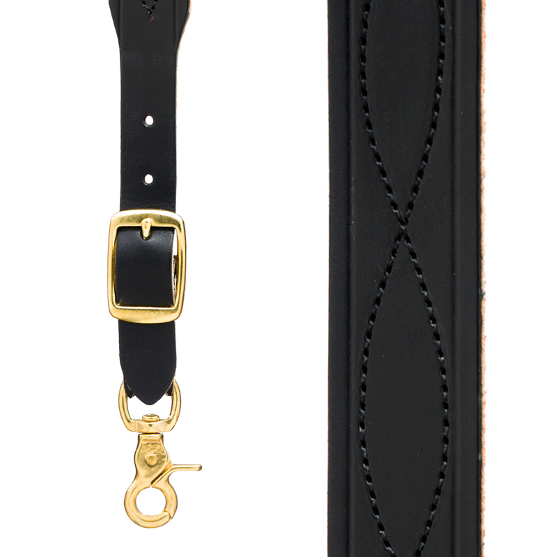 Chain Stitched Handcrafted Western Leather Suspenders - BLACK