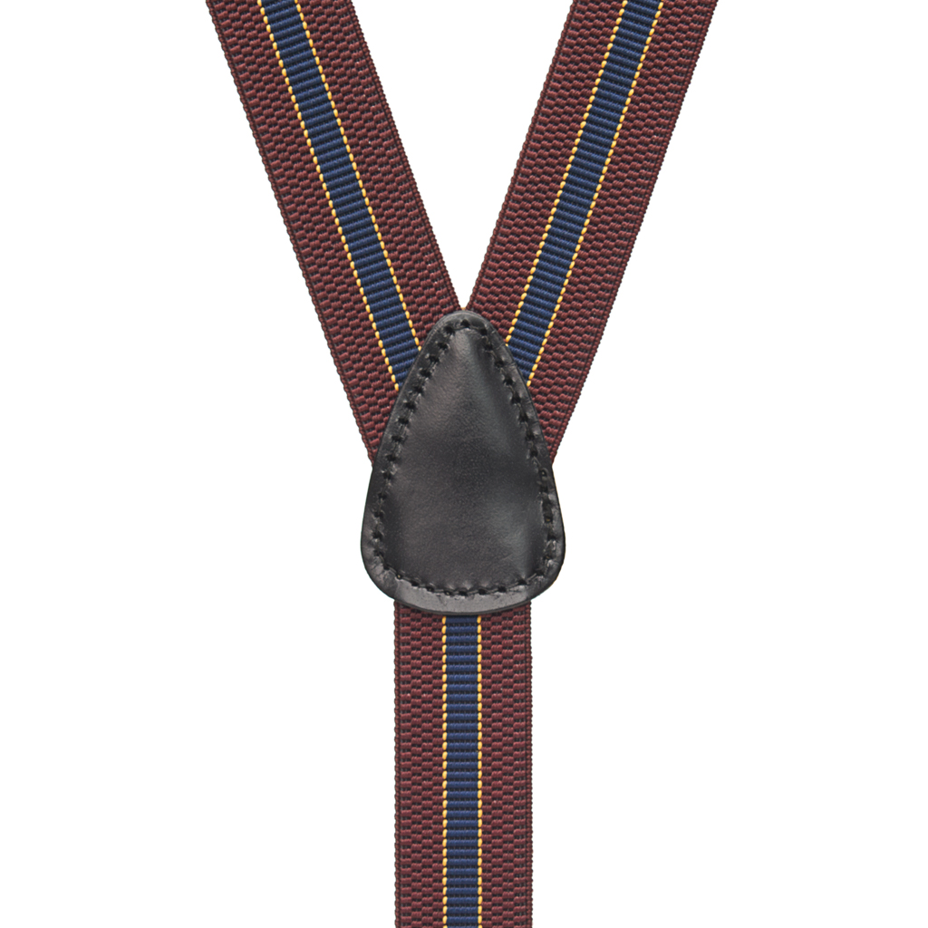 BURGUNDY/NAVY Striped Suspenders - 1 Inch Wide