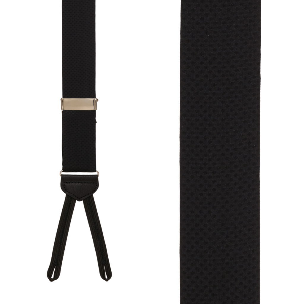 Jacquard Silk BLACK Pin Dot Suspenders - Runner End