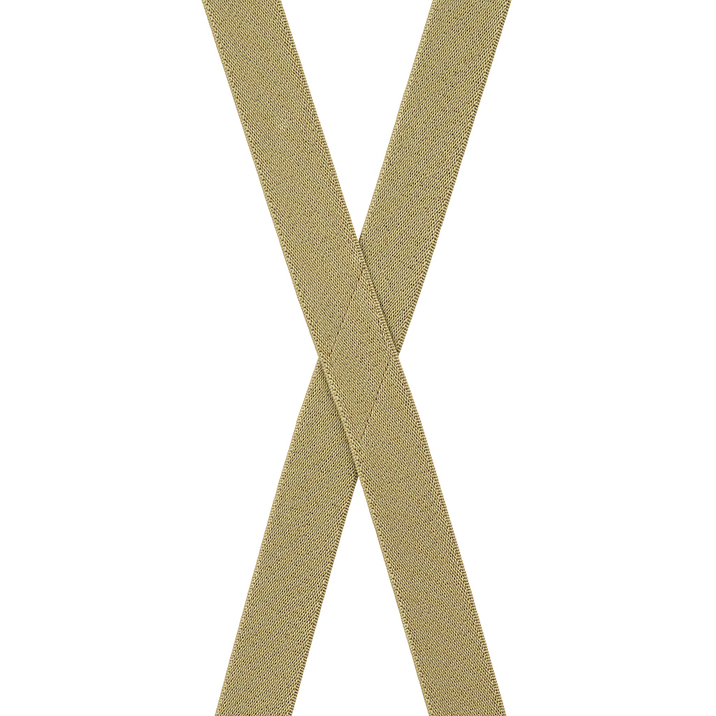 1 Inch Wide Clip Suspenders (X-Back) - TAN