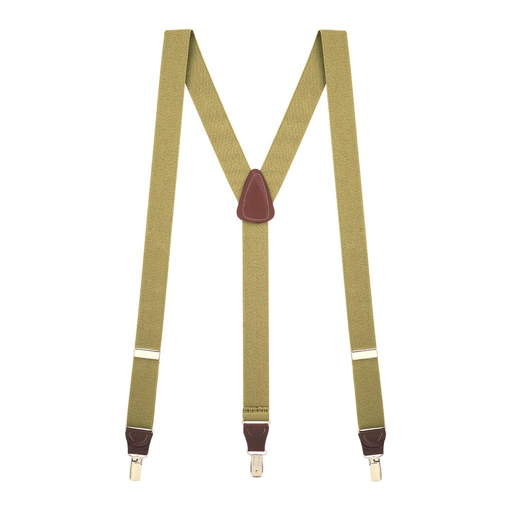 1.25 Inch Wide Y-Back Clip Suspenders - TAN