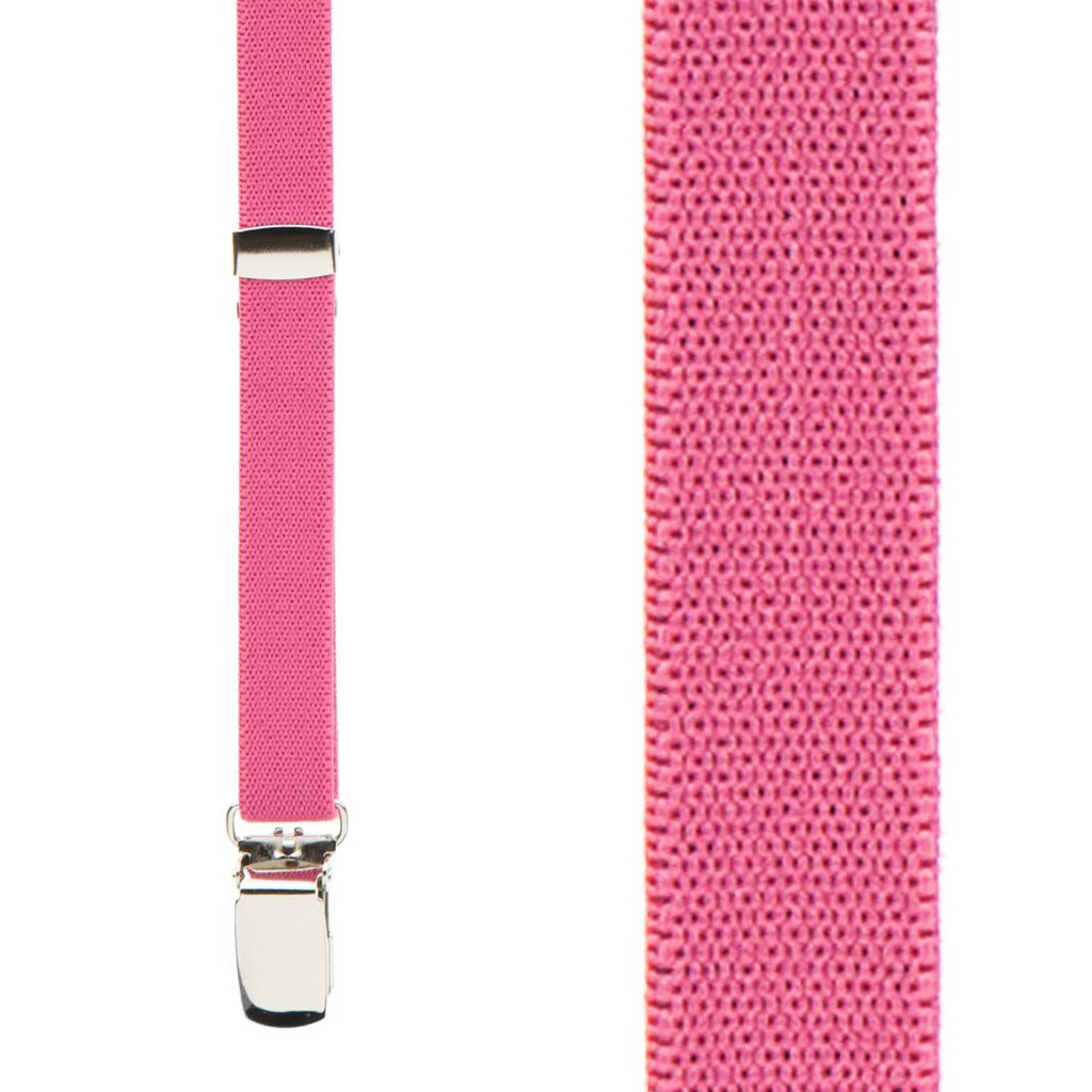 1/2 Inch Wide Skinny Suspenders - DARK PINK