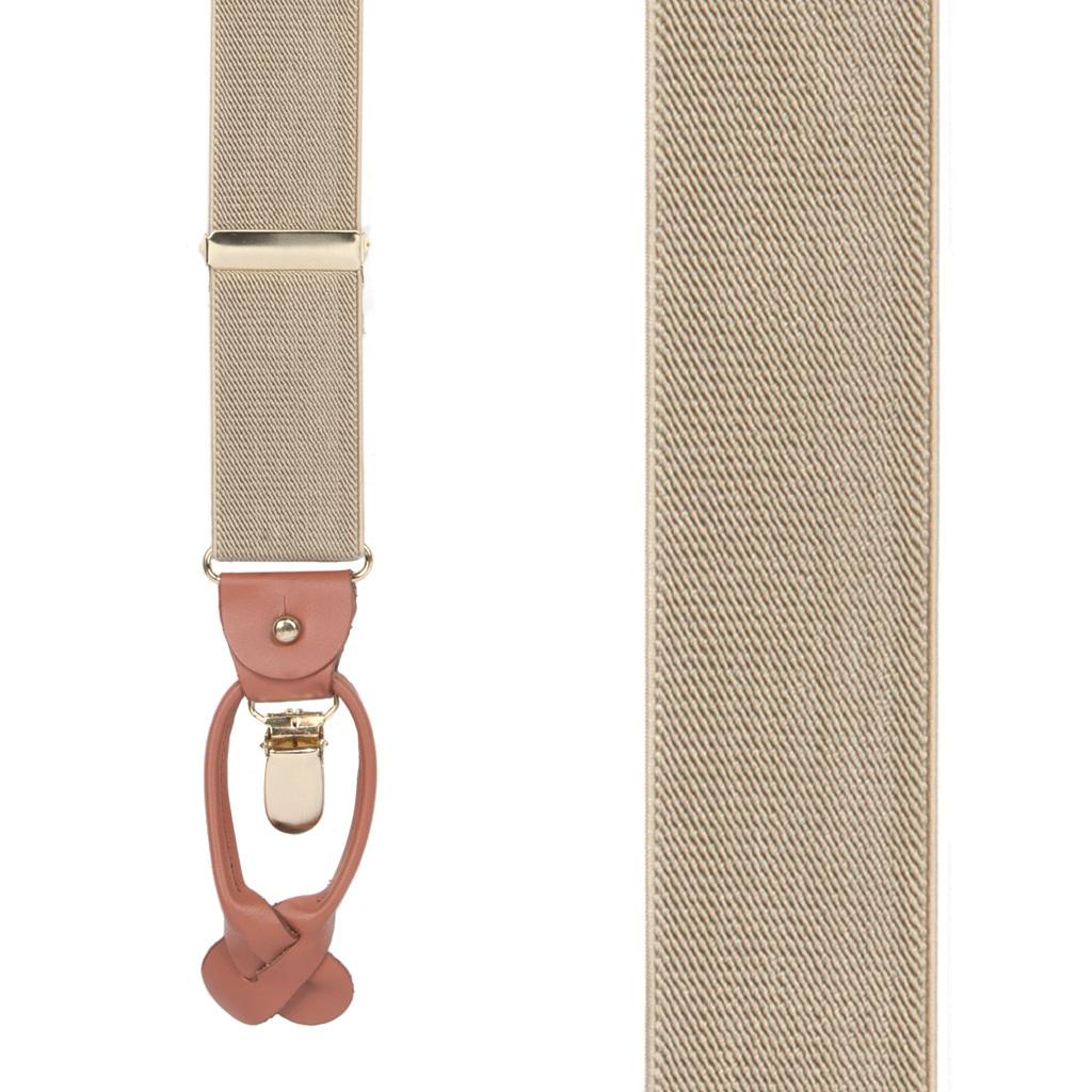Tan Combination Suspenders - Clip & Button