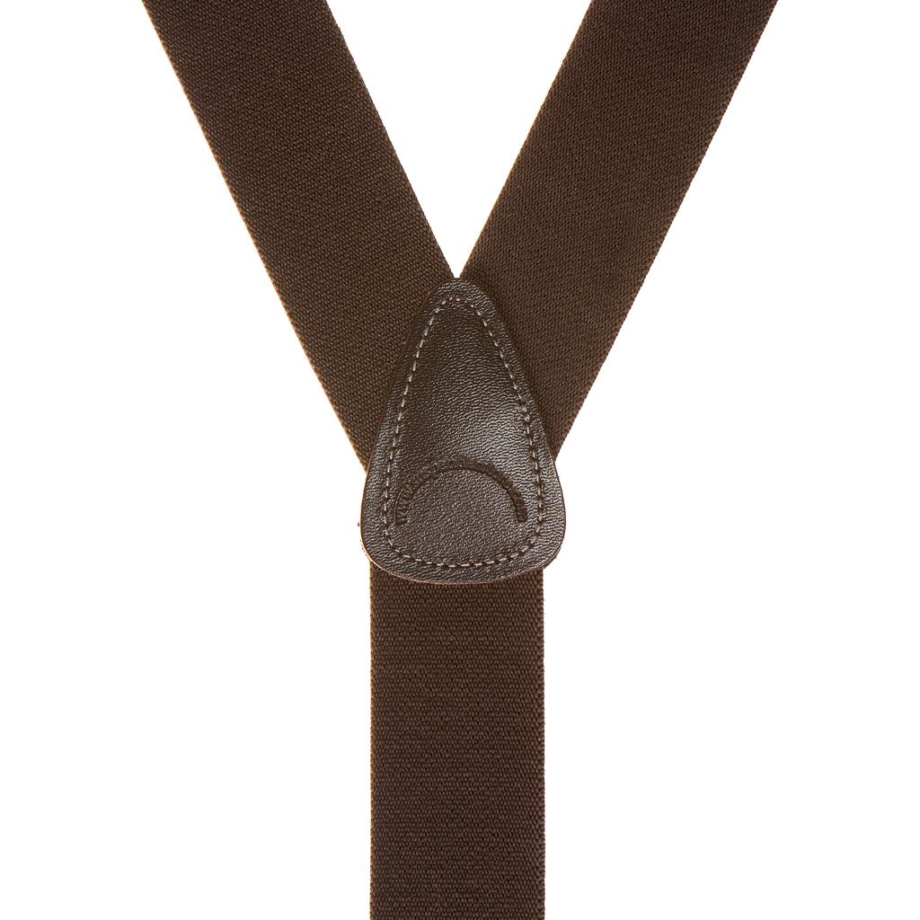 1.5 Inch Wide Button Suspenders - BROWN