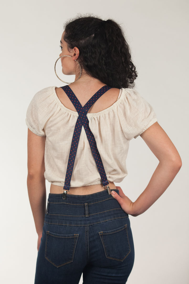Polka Dot Suspenders - Red on Navy 1 Inch Wide Clip