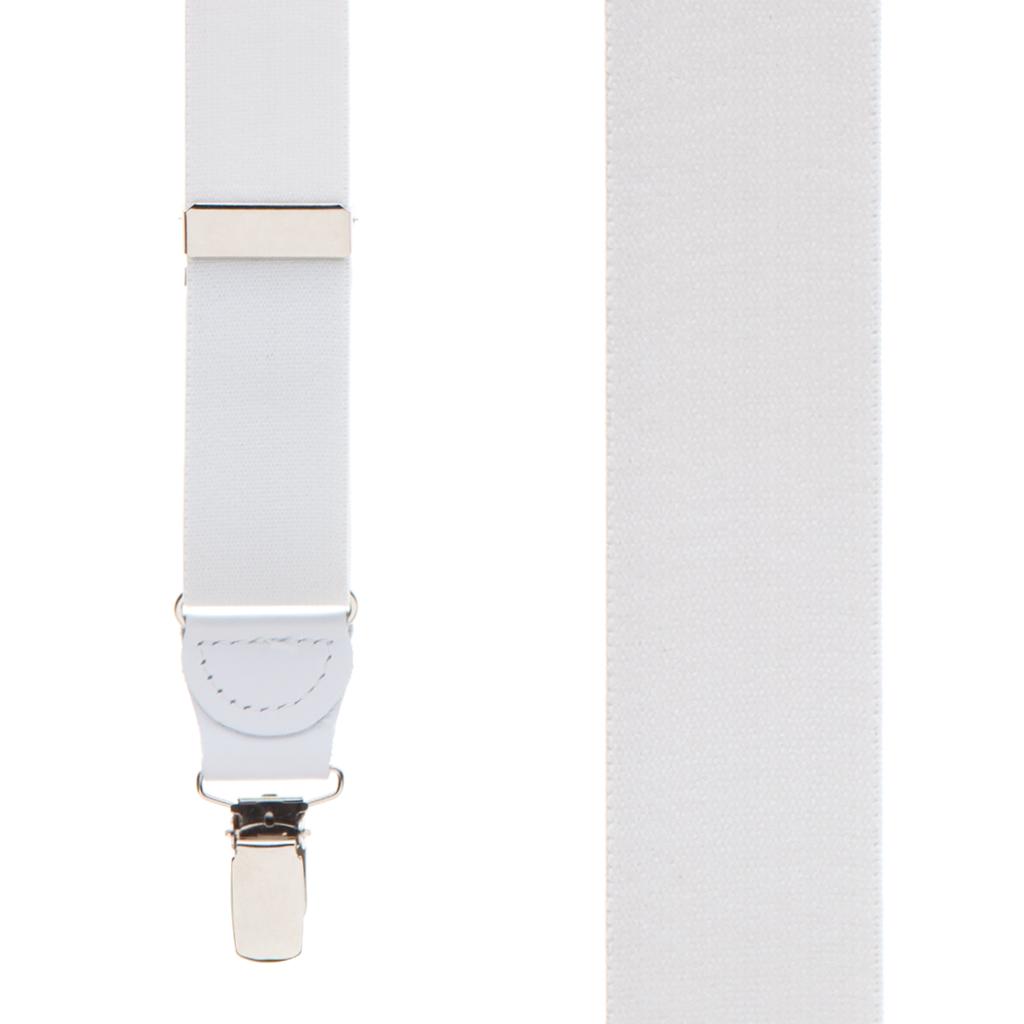 1.25 Inch Wide Y-Back Clip Suspenders - WHITE