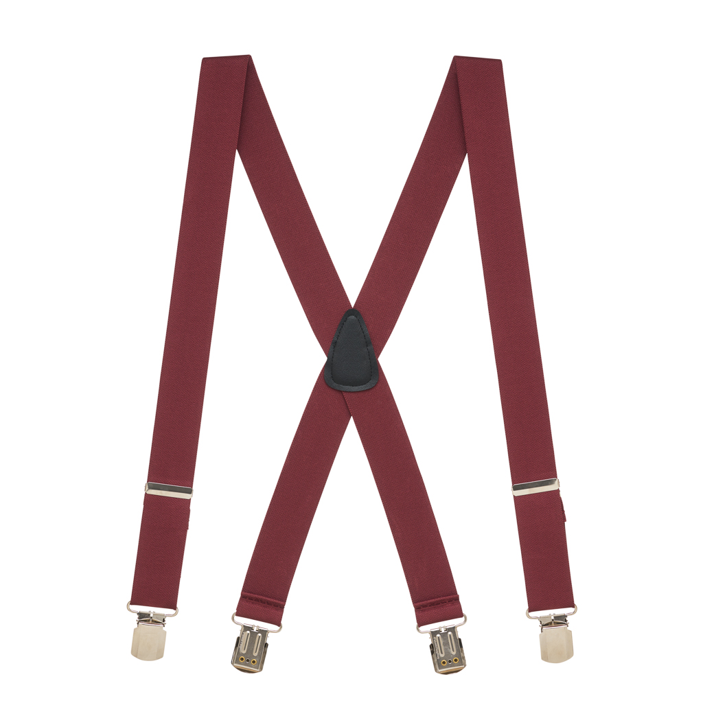 1.5 Inch Wide Pin Clip Suspenders - BURGUNDY