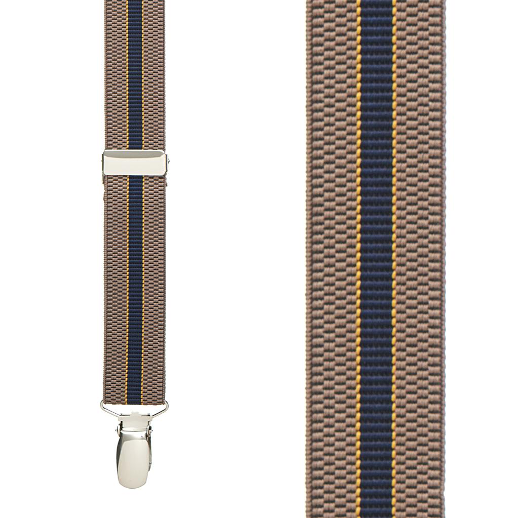 KHAKI/NAVY Striped Suspenders - 1 Inch Wide