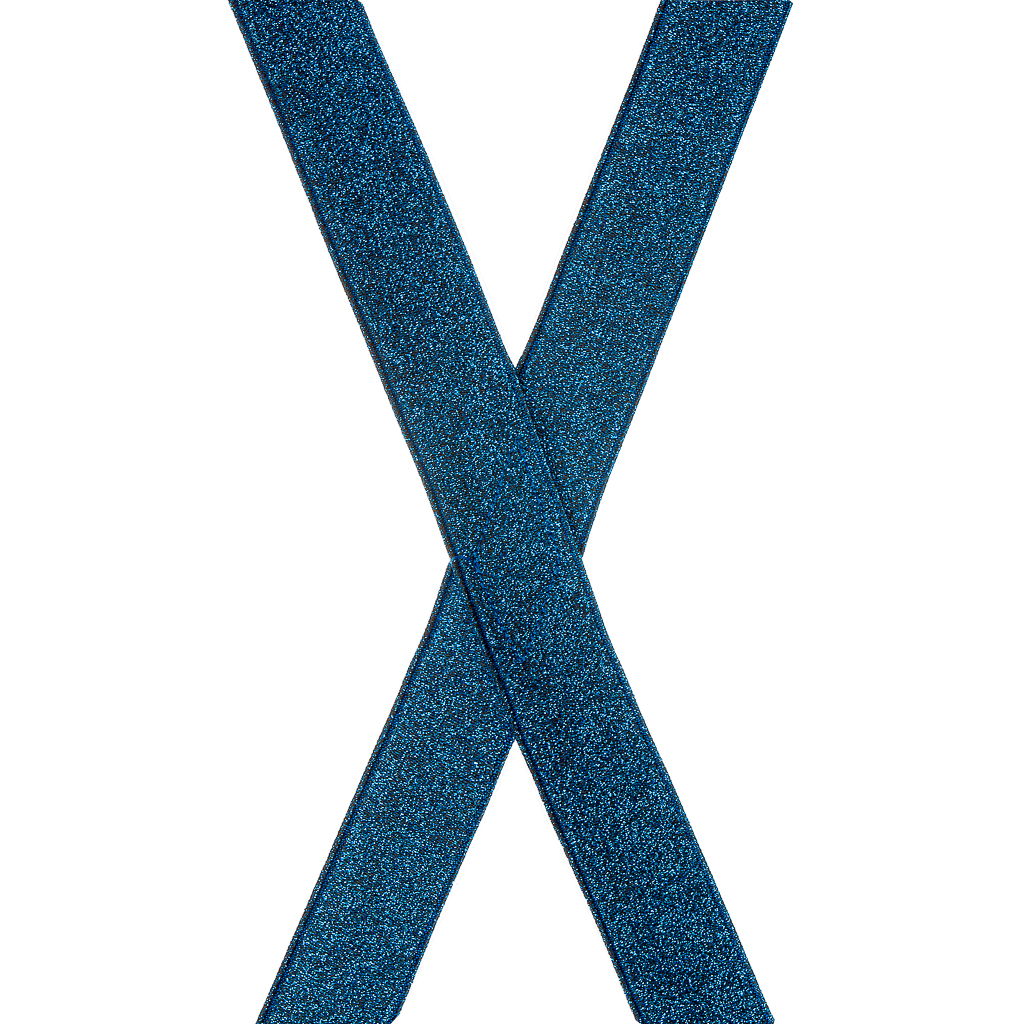 Royal Blue Glitter Suspenders - 1 Inch Wide Clip