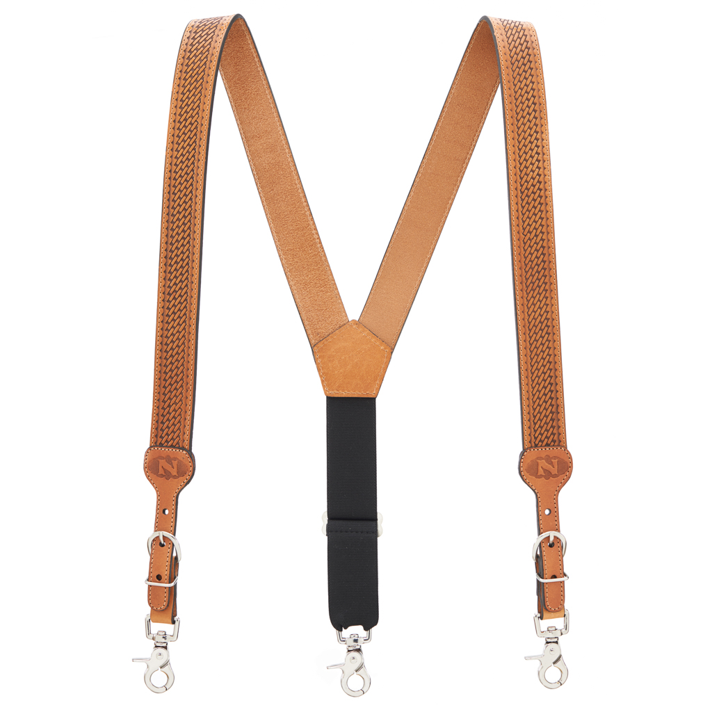 Basketweave Galluses - All Leather Suspenders NATURAL