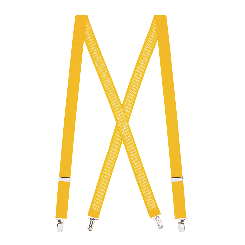 1 Inch Wide Clip Suspenders (X-Back) - GOLDEN YELLOW
