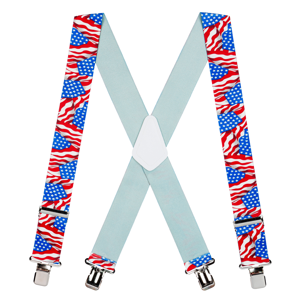 Flag Suspenders - AMERICAN, Construction Clip