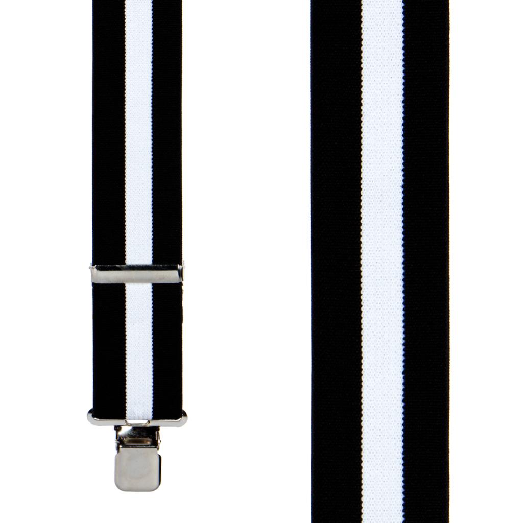 Black/White Striped Clip Suspenders - 2 Inch Wide