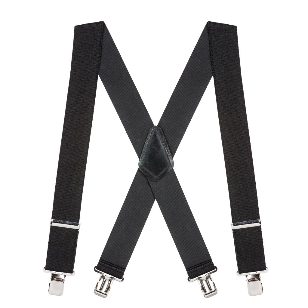 2 Inch Wide Construction Clip Suspenders - BLACK