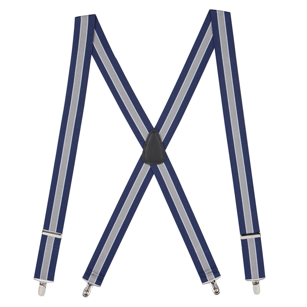 Navy/Grey Striped Clip Suspenders - 1.5 Inch Wide
