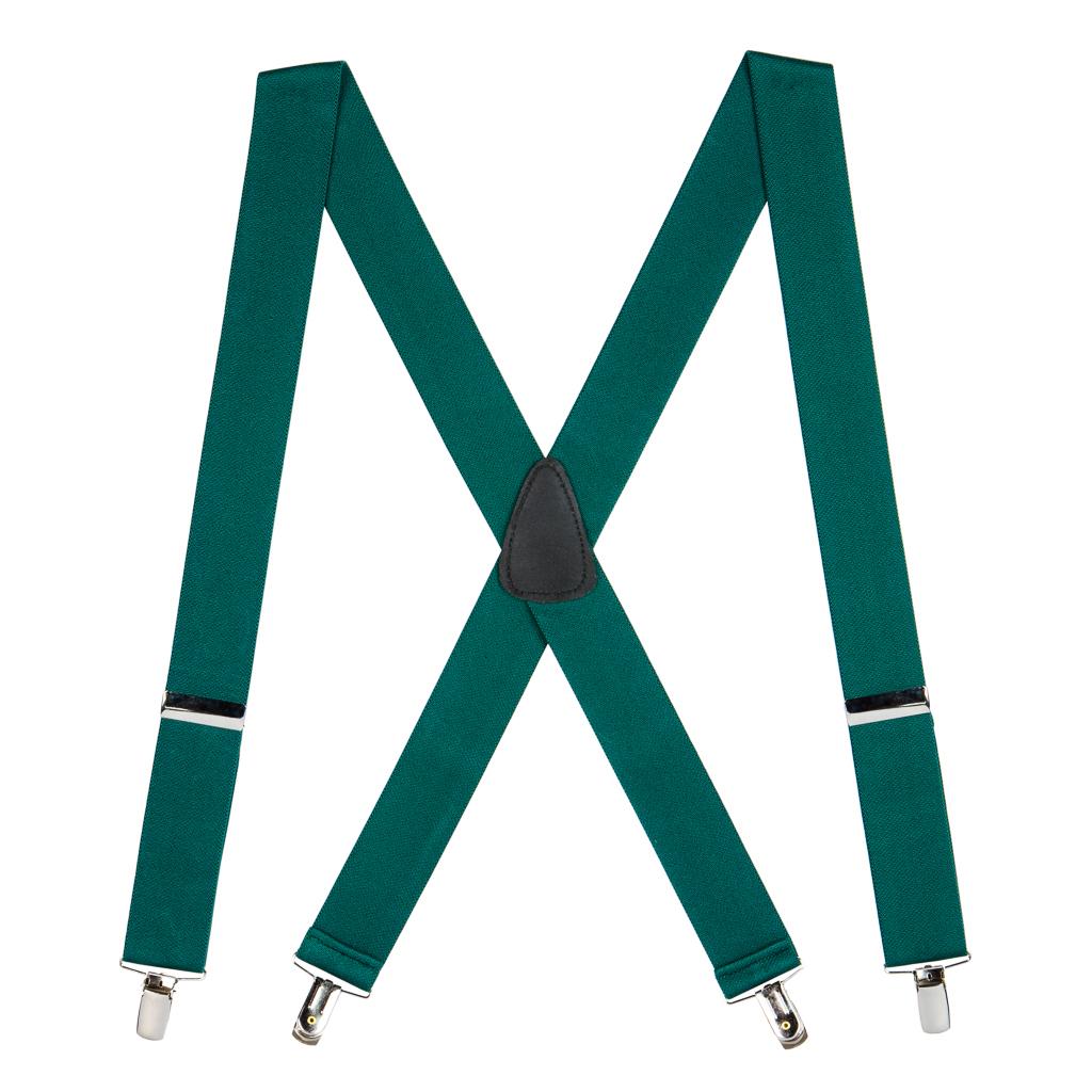 1.5 Inch Wide Clip Suspenders - GREEN
